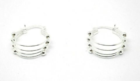Genuine Sterling Silver 925 Multi Hoop Studs with Beads